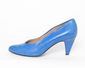 Vintage 80's Blue Leather Heels Pumps