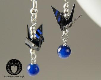 Origami jewelry, Origami crane earrings - Black crane and blue agate