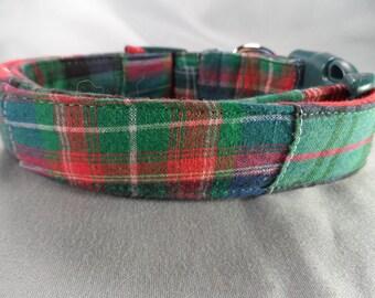 Green Madras Dog Collar