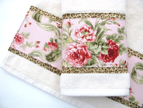 Decorated towels august ave green and pink floral and leopard bath