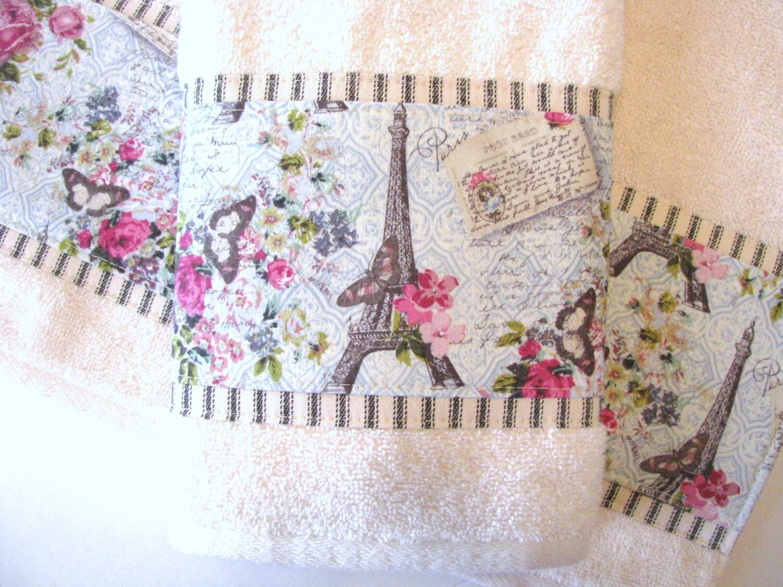 Paris Towel Cream Hand Towels Vintage Paris Bathroom By