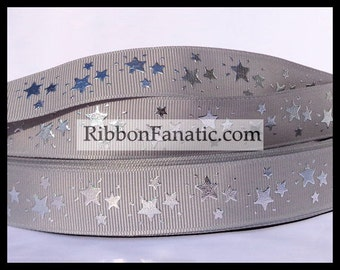 "5 yds 7/8"" Silver Foil Stars on Grey Gray Grosgrain Ribbon"