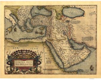 Asia Minor Antique 1570 Map by Ortelius - Ottoman Empire - Reprint