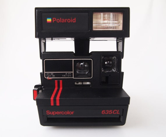 polaroid supercolor 635 cl with red stripes vintage instant. Black Bedroom Furniture Sets. Home Design Ideas