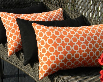 Set of 4 -  Indoor / Outdoor Lumbar / Rectangle Decorative Throw Pillows - Orange and White Geometric Hockley & Solid Black