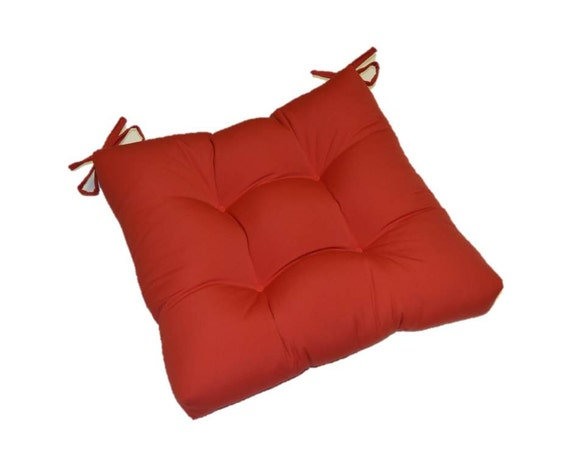 solid red tufted cushion pad with ties for kitchen dining seat. Black Bedroom Furniture Sets. Home Design Ideas