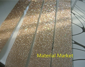 24 Rows 45inch long Crystal Rhinestone Ribbon 3mm wide clear crystal stones on Gold setting for cake decor