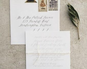 Sample DESIGN 18: modern calligraphy wedding invitation, rustic wedding invite, simple invitation, classic wedding invitation, kraft invite