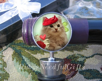 Wine Bottle Stopper, Cat Bottle Stopper,  Hostess Gift,  Housewarming Gift, Young Enough to Enjoy.