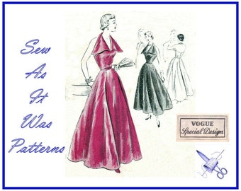 FF 1940s Vogue Special Design S-4004 Unused Halterneck Formal Evening Gown Flared Dress Winged Collar Vintage Sewing Pattern Size 14 Bust 32