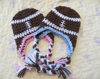 For the TWINS * Set of 2 Crochet FOOTBALL hats with braids * Blue / Pink trim *  Photo Props * Photo Props
