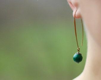 Jade Earrings, Jade Green Earrings, Long Earrings, Minimalistic Earrings,Everyday Earrings,Green Brass Earrings,Green Earrings,Natural Stone