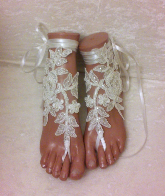 white or ivory beach wedding barefoot sandals embroidered with pearls lace sandals, bridal lace anklet sandals   lace sandals