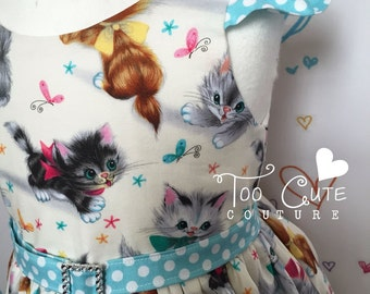 Cute Cats dress with flutter sleeves