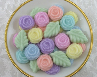 36 Pastel Open Rose and Leaf shaped sugar cubes for tea party, shower, coffee, tea, party favor, bridal, wedding, hostess gift