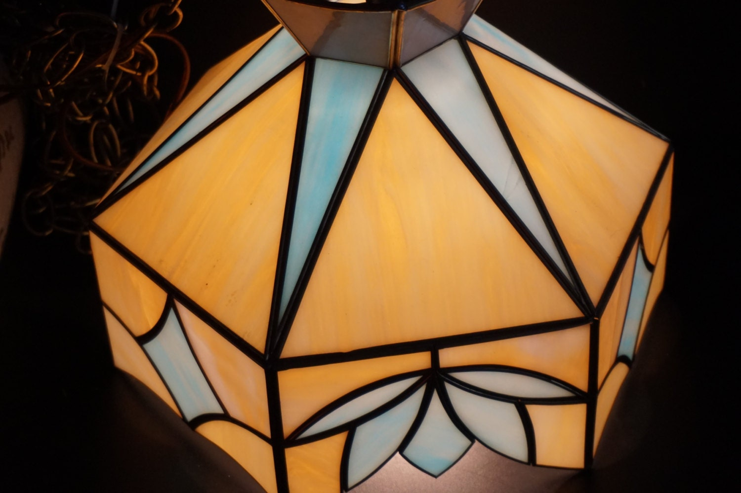 vintage stained glass hanging lamp by shabbyfrenchshack on. Black Bedroom Furniture Sets. Home Design Ideas