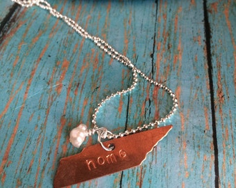 Home Copper Tennessee State Metal Blank Necklace