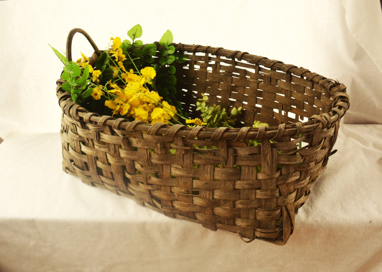 Woven Gathering Basket : Antique woven basket rustic gathering by vintassentials