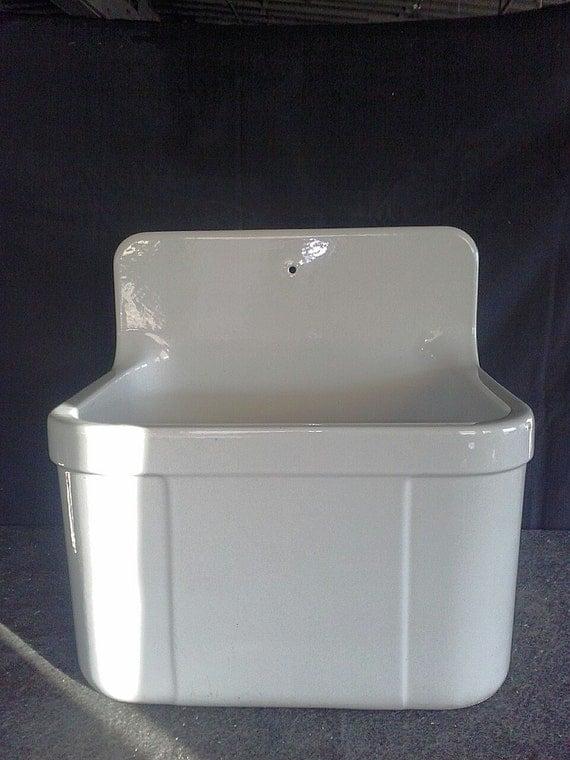Antique Laundry Sink : ... SALVAGE Bone White Concrete Farm Sink Vintage Utility Tub Laundry Room