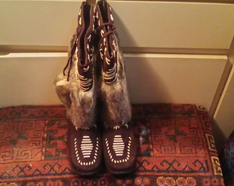 NWOB Concert Boots For Burning Man Fur/Suede Size 38