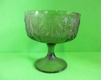 Vintage Green glass pedistal Bowl Compote used Marked FLD used