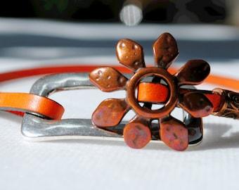 Metal and Orange Leather wrap Bracelet
