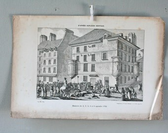 antique french etching -engraving - massacres from the 2,3,4,5 and 6 th september 1792 - french revolution