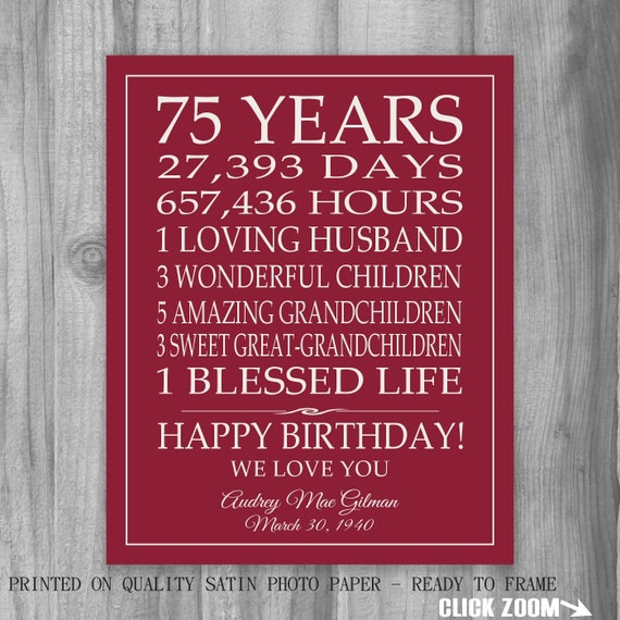 75th BIRTHDAY GIFT Sign Print Personalized Art Mom Dad Grandma