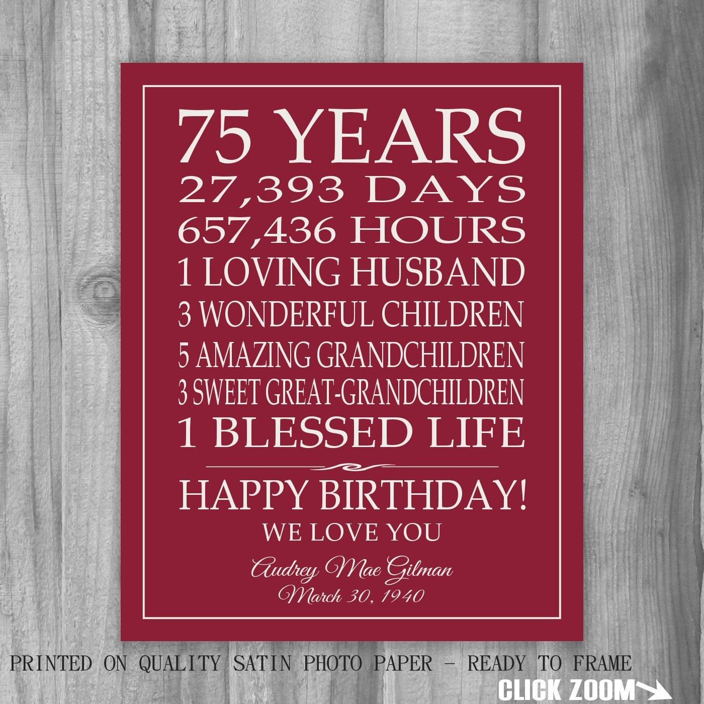 75th Birthday Gift Sign Print Personalized Art Mom Dad Grandma