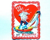 Vintage Puppy Dog Sailor in Boat Mechanical Valentine, Moves, Die Cut.