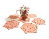 Crochet Coasters Peach Pearl Cotton,  Table Decor Set of 6, Holiday Table Decor