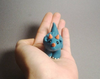 Blue triceratops sculpture - polymer clay