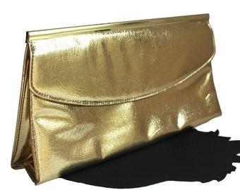 Shiny Gold Vinyl Envelope Clutch
