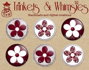 Berry Burgundy (6pcs) 1 inch Flat Back Buttons