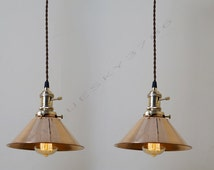 2 x Vintage Industrial DIY Copper Cone Ceiling Lamp Light Pendant Lightings - Industrial Bar Pendant Copper Lamps