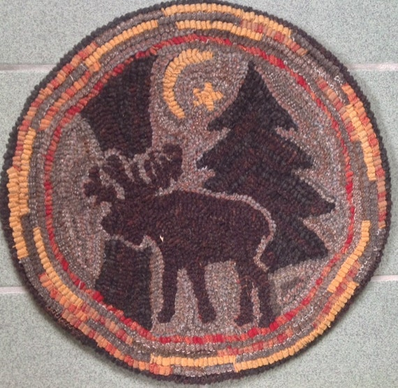 "Rug Hooking Pattern For ""Moonlight Moose"" Chair Pad, On"