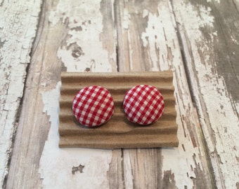 Fabric Button Earrings, Red and White Gingham, Post or Clip-on