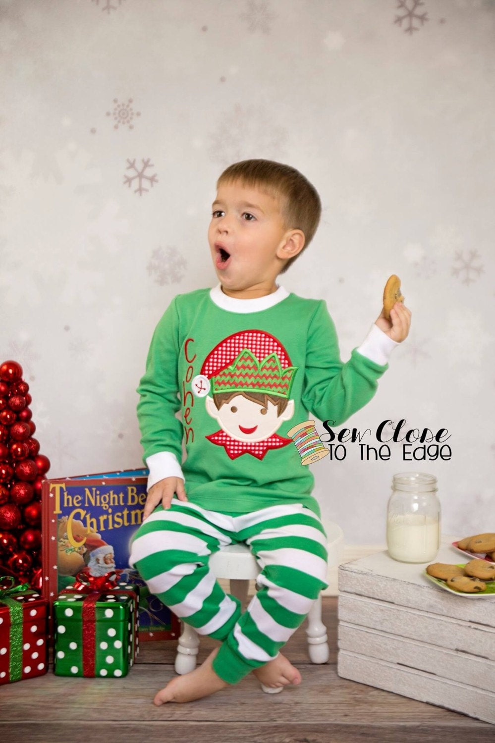 Custom Christmas Elf Pajamas Personalized PJs Toddler