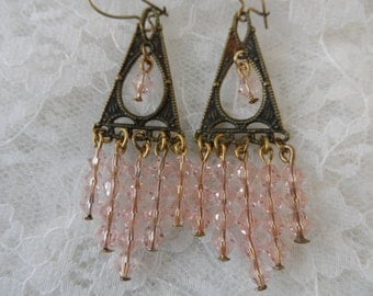 "Chandelier vintage gold/pink earrings,2"",jwl03"