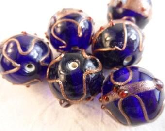 SALE!Large Ceramic cobalt blue w/copper color swirl design beads,20mm,6pcs-BDS24