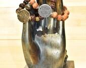 Be Positive Light or Dark Wood Beaded Bracelet Reiki charged