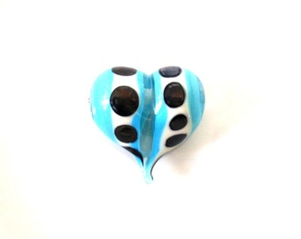 Heart Glass Bead, Turquoise Handmade Glass Bead, focal lampwork glass bead, Glass Beads, Jewelry Making