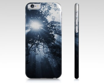 Dark Blue Trees Plastic Phone Case, iPhone Cover, iPhone 6 & 6 Plus 5 and 4 Case, Samsung Galaxy S5 S4 S3 Case Ethereal Blue Cell Phone Case