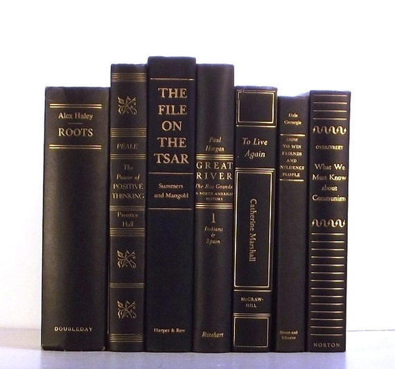 Black vintage decorative books black book collection black - Decorative books for display ...