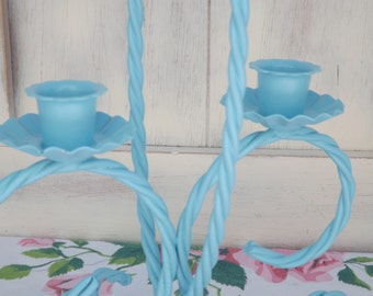 Vintage Upcycled Twisted Metal Double Candle Holder Aqua Blue Home Decor Table Centerpiece
