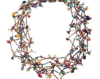 Multicolor Glass Bead Necklace with Magnetic Closure - Guatemala