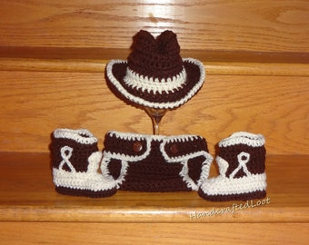 Neugeborenes Baby Cowboy Häkelmütze Stiefel Foto Prop Set