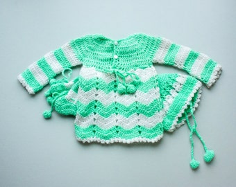 Vintage 70's Mint Green + White Chevron Crochet Dress with Matching Booties and Hat / Newborn 0-3 Month Baby Girl