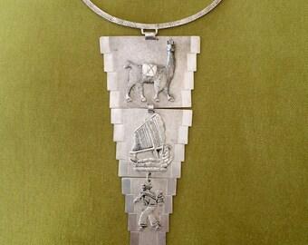 Amazing Silver Peruvian bib choker