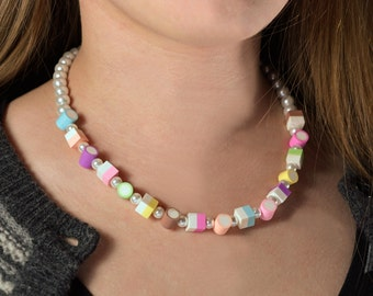 Medium Dolly Mixtures Necklace Polymer Clay Sweets 18""